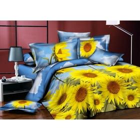 """Постельное бельё """"Этель поплин, """" евро Цветок солнца 200*220 см, 220*230 см, 70*70 см - 2 шт. 100% хлопок, поплин,"""