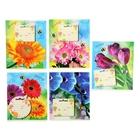 """Тетрадь 12 листов клетка """"Яркие цветы"""", картонная обложка, водный лак, блёстки, 5 видов МИКС"""
