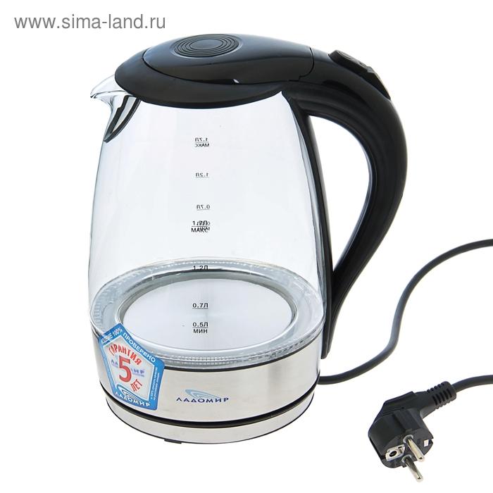 """Чайник электрический """"Ладомир"""" 104, 1.7 л, 2000 Вт, стекло, чёрный"""