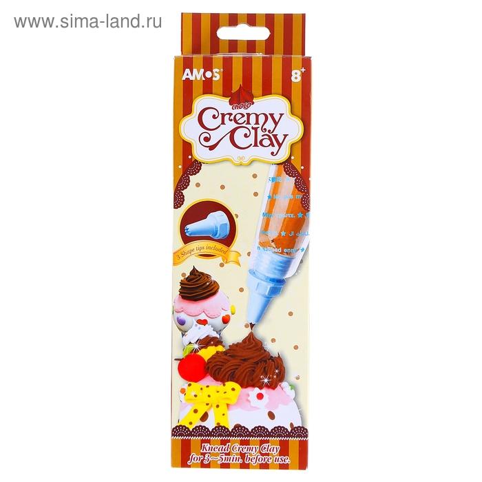 """Крем для лепки """"Шоколад"""" 50 гр, в комплекте 3 насадки для придания форм"""