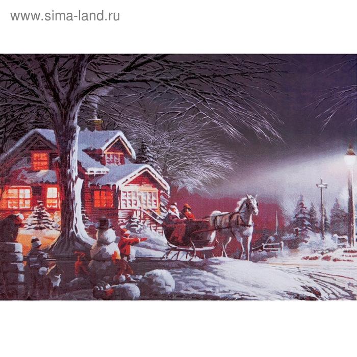 """Роспись по холсту """"Зимний вечер"""" по номерам с красками по 3 мл + кисти + инструкция + крепеж"""