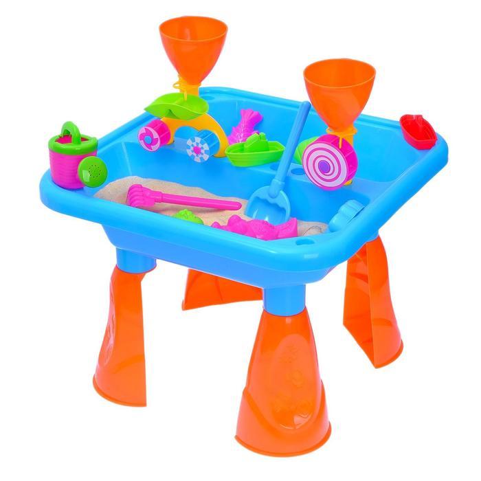 Игровой столик с песочным набором, 2 в 1, 18 предметов, высота 35,5 см