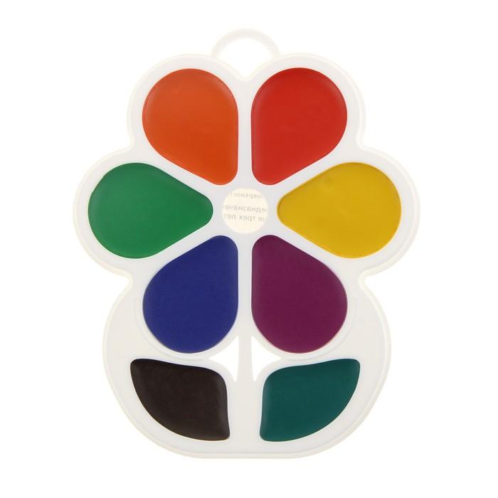 Акварель «Луч Цветочек», 8 цветов, в пластиковой коробке, без кисти