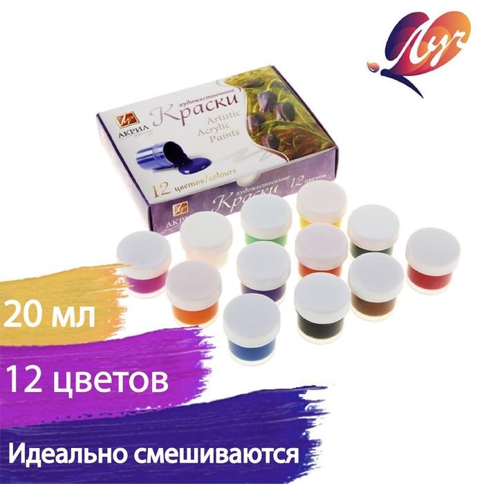 Краска акриловая, набор из 12 цветов по 15 мл, «Луч»