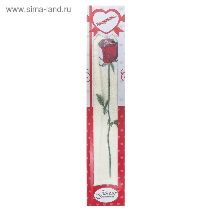Полотенце для лица махровое LiYA Rose в коробке 50*90см молочный 500 гр/м