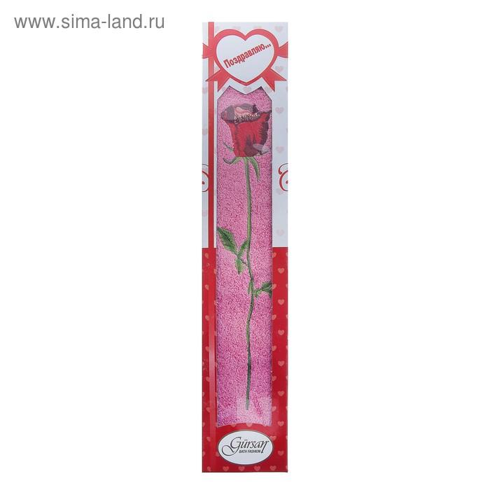 Полотенце для лица махровое LiYA Rose в коробке 50*90см розовый 500 гр/м