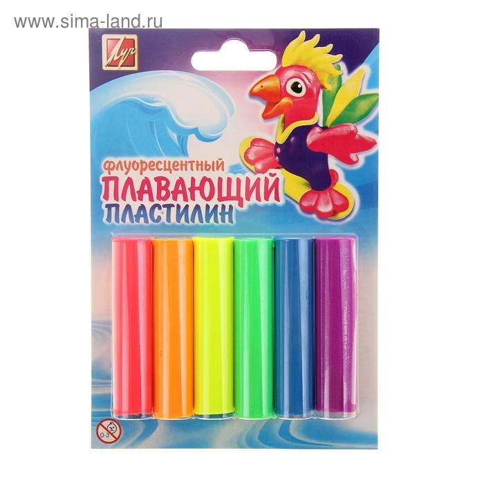"""Пластилин 6 цветов """"Плавающий"""", флуоресцентный"""