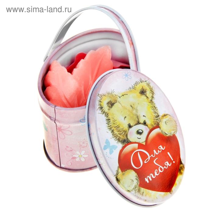 """Набор мыло листок розовый + конфетти в малой корзиночке """"Для тебя"""""""