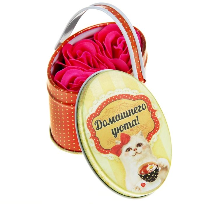 """Мыльные лепестки в шкатулке-корзиночке """"Домашнего уюта"""", 3 шт."""
