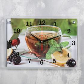 """Часы настенные прямоугольные """"Чай с лимоном и ежевикой"""", 25х35 см"""