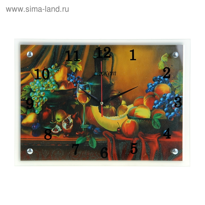 """Часы настенные прямоугольные """"Вино и фрукты"""", 25х35 см"""