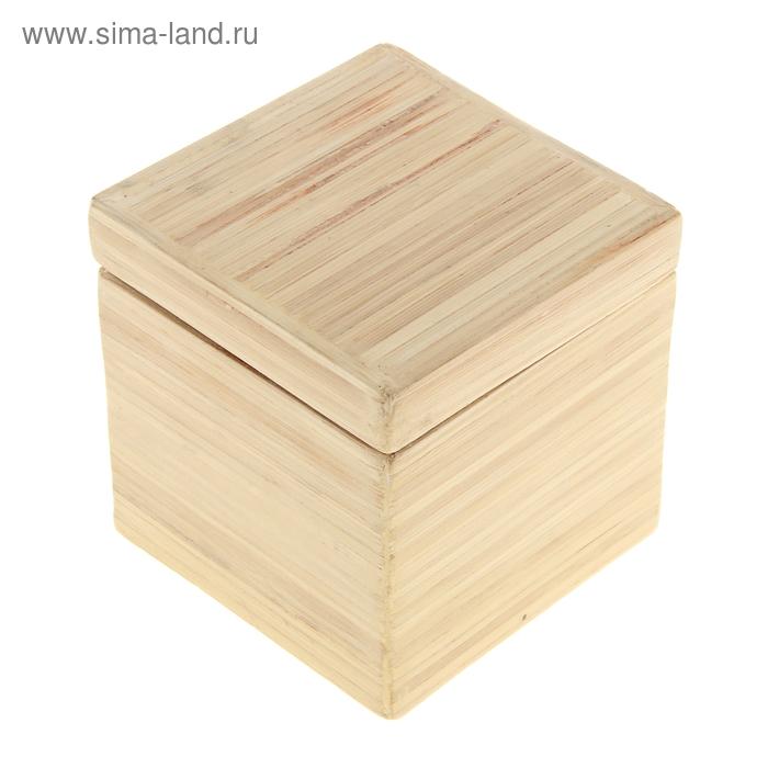 """Шкатулка бамбуковая """"Натуральный лак"""", малая"""