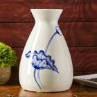 """Ваза керамика """"Белая с голубым цветком"""", малая"""