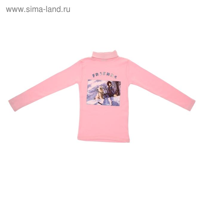 """Джемпер для девочки """"Девочка с собакой"""", рост 128 см (34), цвет розовый"""