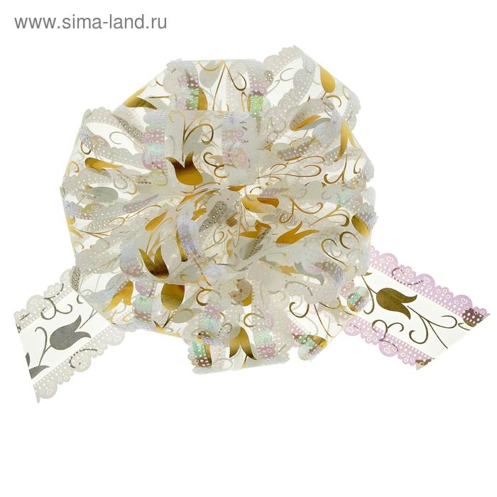 "Бант-шар № 5 ""Тюльпаны"", цвет белый"