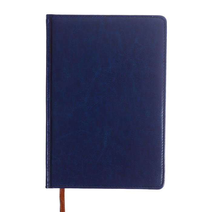Ежедневник полудатированный, формат А5,192 листа, линия, золотой срез, перфорированный угол, ляссе, синий