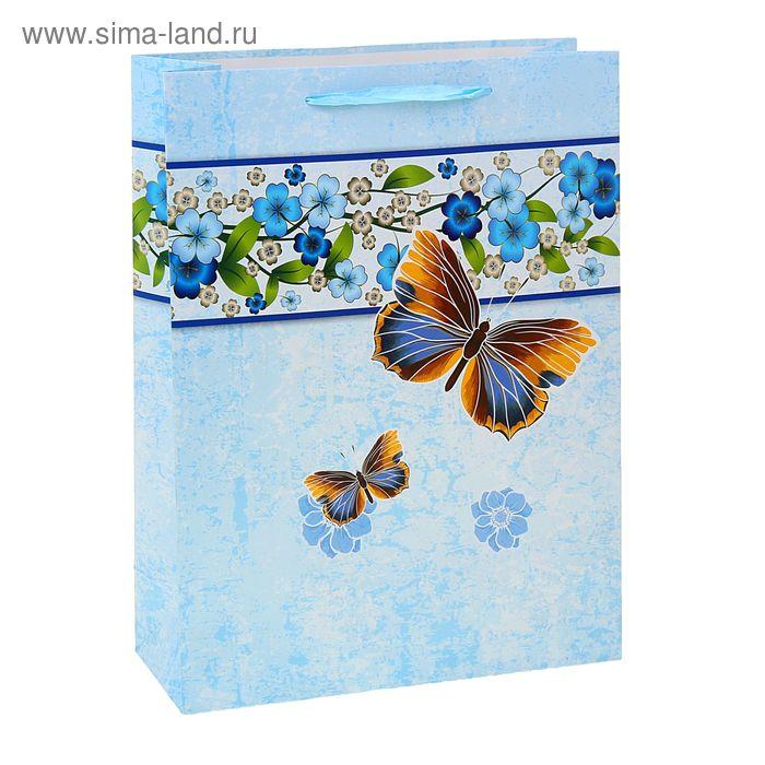 """Пакет ламинированный """"Бабочки"""", цвет голубой"""