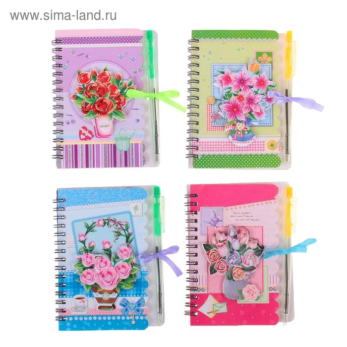 Блокнот А6 40л лин на гребне с ручкой Цветы МИКС