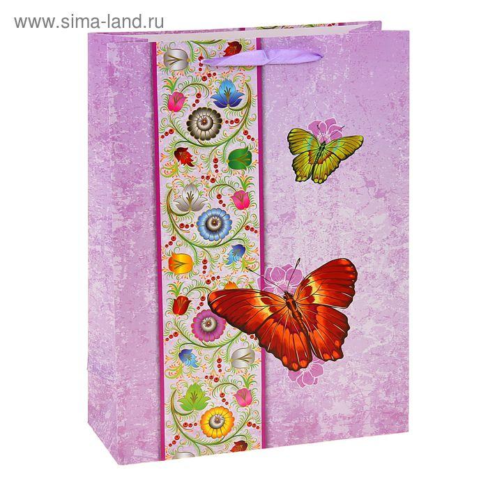 """Пакет ламинированный """"Бабочки"""", цвет сиреневый"""