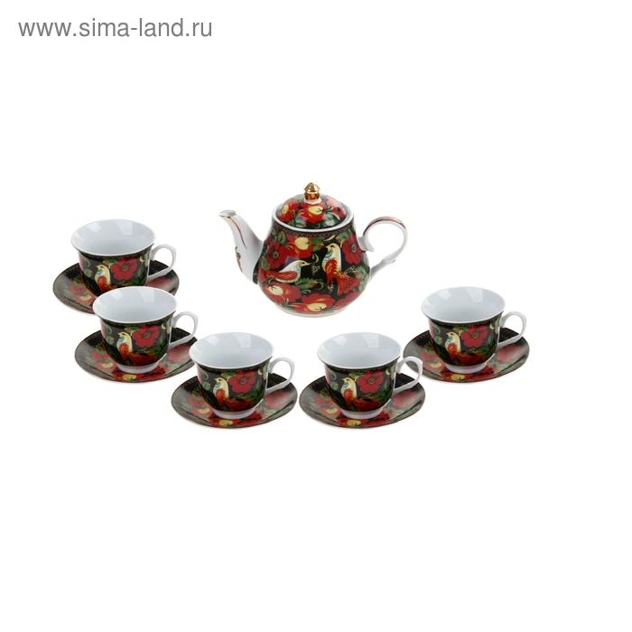 """Сервиз чайный """"Птицы"""", 11 предметов: 5 чашек 200 мл, 5 блюдец, чайник 1 л"""