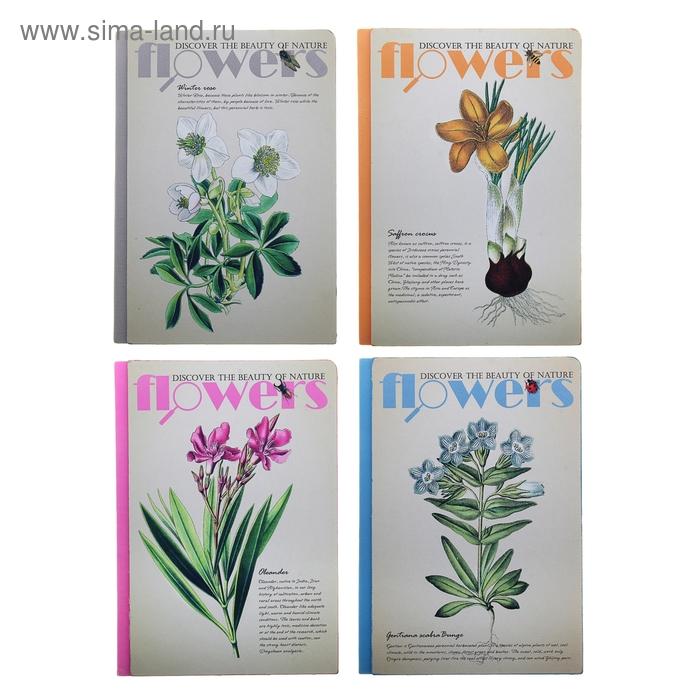 Записная книжка тв обл А5 120л лин Цветы (для гербария) МИКС ляссе