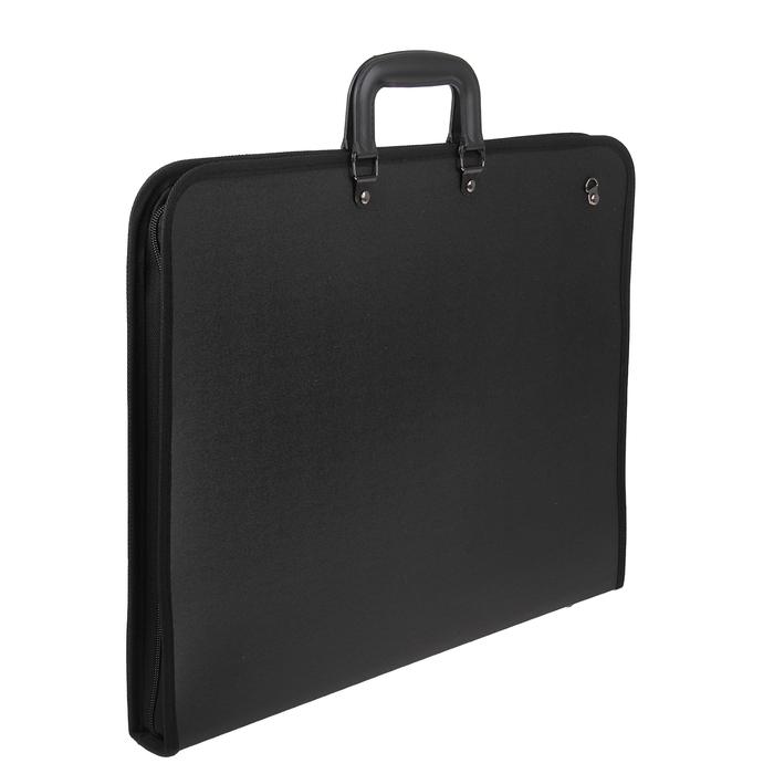 Портфель 2 отделения. формат А3, пластиковый, с ручкой, на молнии, с лямкой, черный (для эскизов)