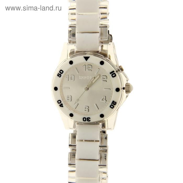 Часы мужские, серебристый циферблат, пластиковый браслет, цветная подсветка