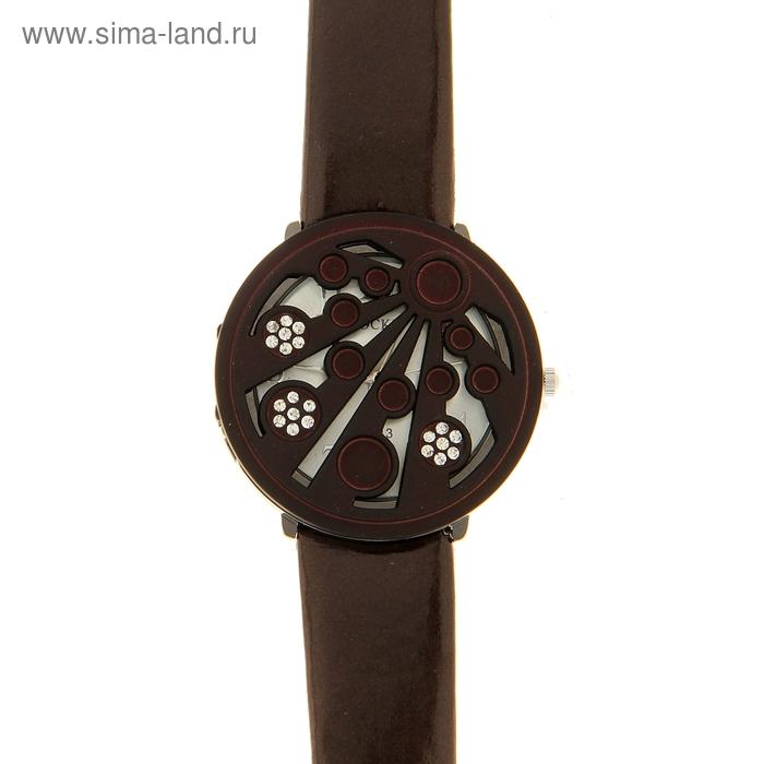 "Часы женские ""Вишенки"", белый циферблат, коричневый ремешок, коричневая крышечка"