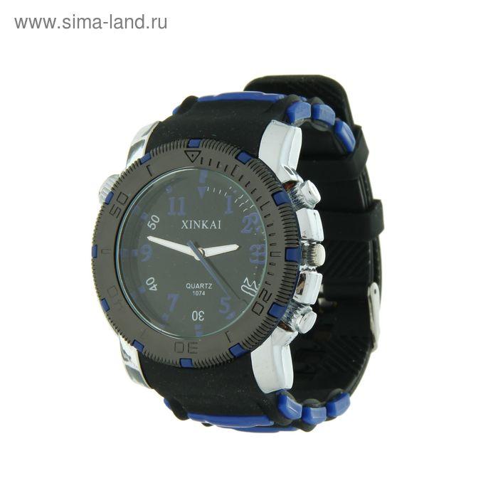 Часы мужские, черный циферблат, силиконовый черно-синий ремешок