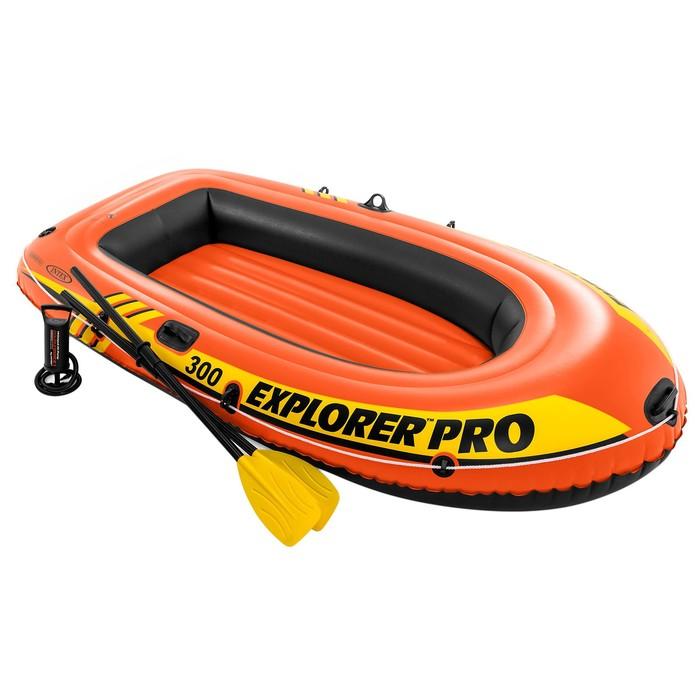 Лодка Explorer pro 300, 3 местная, 244 х 117 х 36 см, вёсла, ручной насос, до 200 кг, 58358NP INTEX