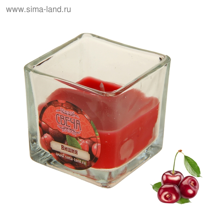 Свеча восковая, аромат вишня