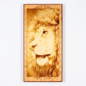"Backgammon ""lion"", wood Board 60x60 cm, with a field for a game of checkers"