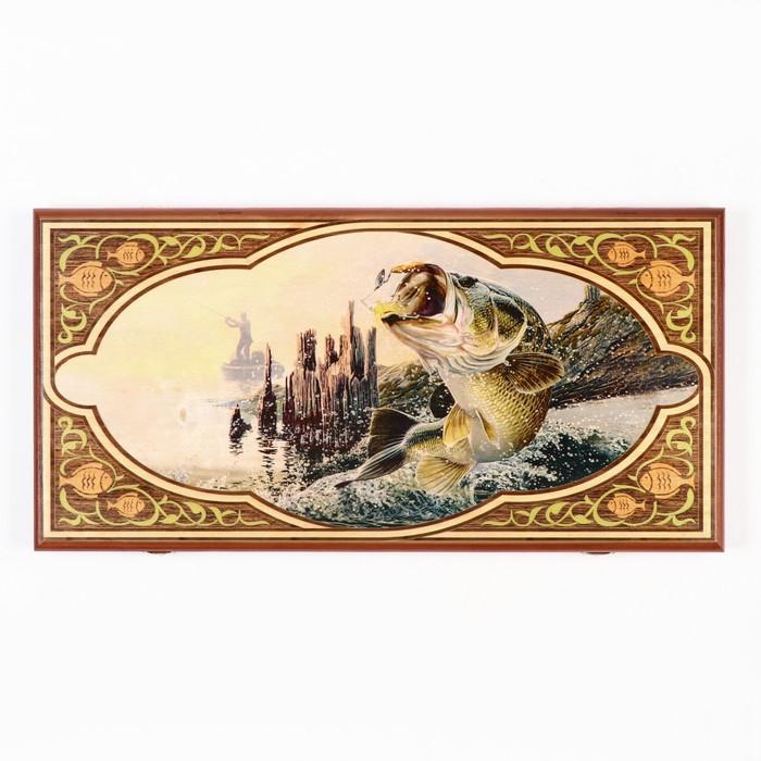 """Нарды-шашки """"Рыбалка"""" (доска дерево 60х60 см)"""