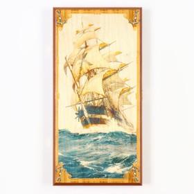 """Нарды """"Морские"""", деревянная доска 40х40 см, с полем для игры в шашки"""