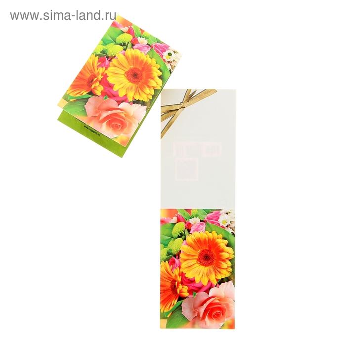 Открытка мини, универсальная, цветы, бантик
