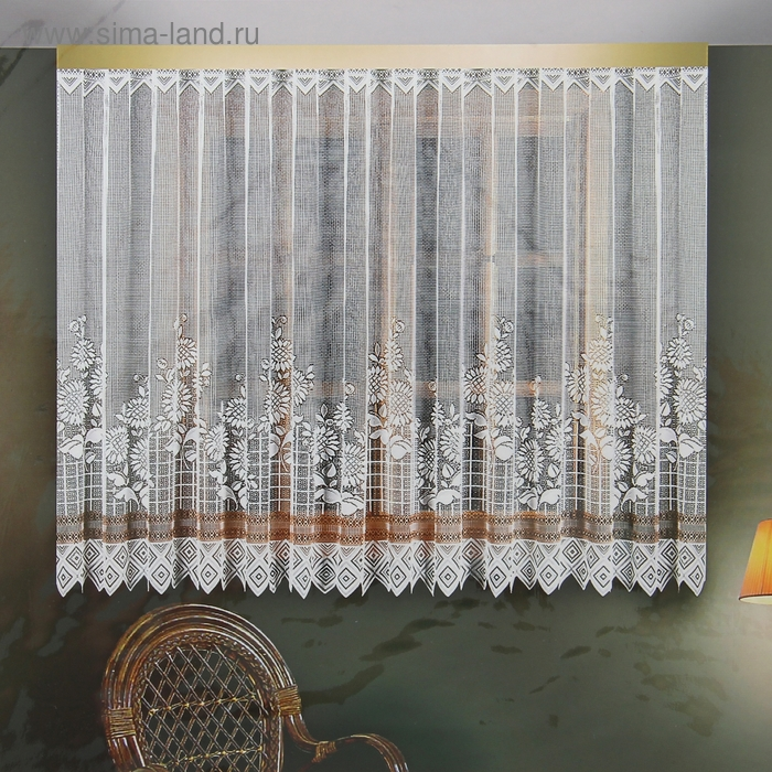 Штора без шторной ленты, размер 200х145 см, 100% п/э, цвет белый/коричневый