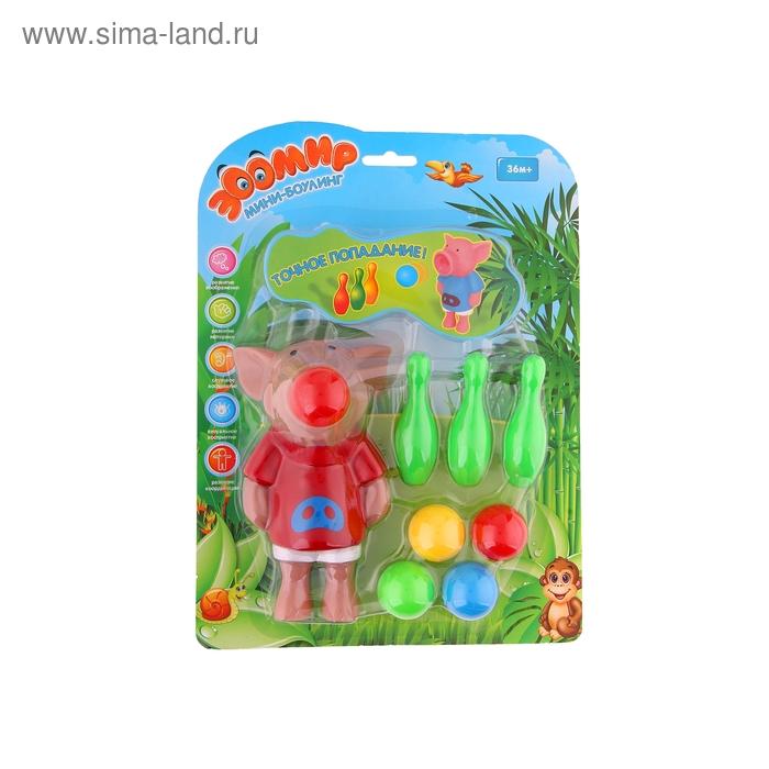 "Мини-боулинг ""Свинка-стрелялка"", 3 кегли, 5 шариков"