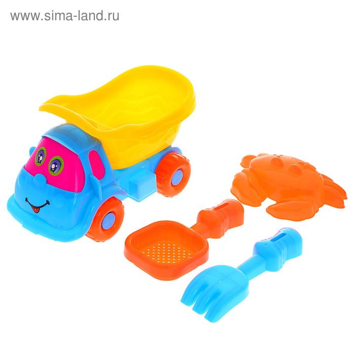 """Песочный набор """"Малышка"""" 4 предмета: машинка, формочка, сито, грабли, цвета МИКС"""