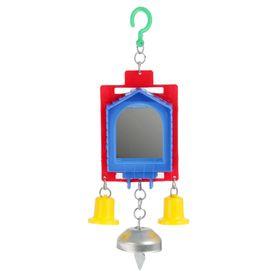 Игрушка для птиц зеркало двойное с металлическим и пластиковыми колокольчиками №2,  микс