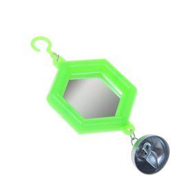 Игрушка для птиц зеркало с металлическим колокольчиком №2  микс цветов