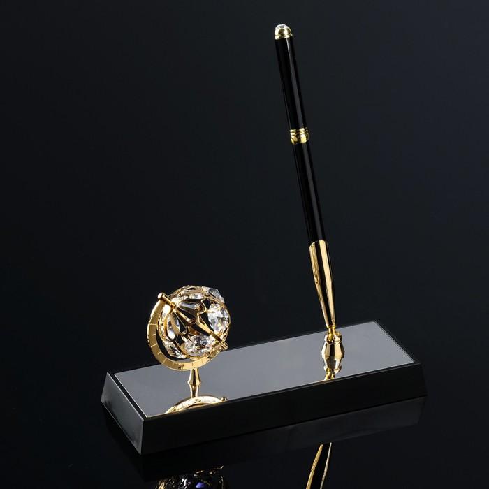 Ручка на подставке «Глобус», 16×6×20 см, с кристаллами Сваровски