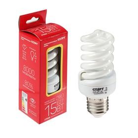 """Лампа энергосберегающая """"Старт"""", E27, 15 Вт, 2700 К, 220 В, теплый белый"""