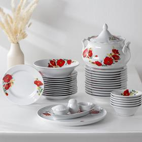 Сервиз столовый «Маки красные», 37 предметов, 2 вида тарелок
