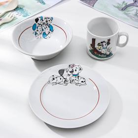 Набор посуды 'Далматинцы', 3 предмета: кружка 200 мл, салатник 360 мл, тарелка мелкая d=17 см, МИКС Ош