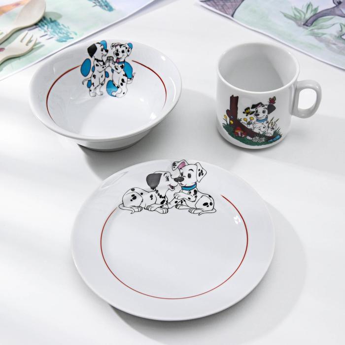 Набор посуды «Далматинцы», 3 предмета: кружка 200 мл, салатник 360 мл, тарелка мелкая 17 см, цвет МИКС