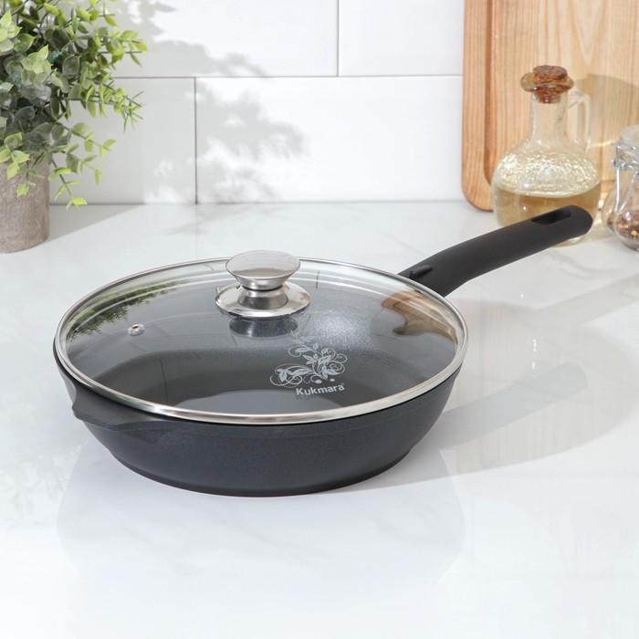 Сковорода KUKMARA «Традиция», 24×6 см, стеклянная крышка, съемная ручка - фото 797569138