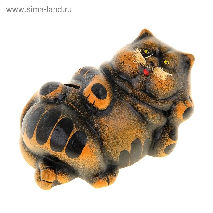 """Копилка """"Ленивый кот"""" коричневая"""
