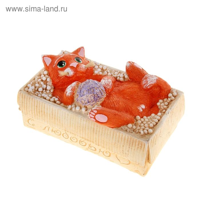 """Копилка """"Котёнок в коробке"""" рыжая"""