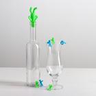 Набор для вина: пробка для бутылки, 6 маркеров для бокалов, цвета МИКС