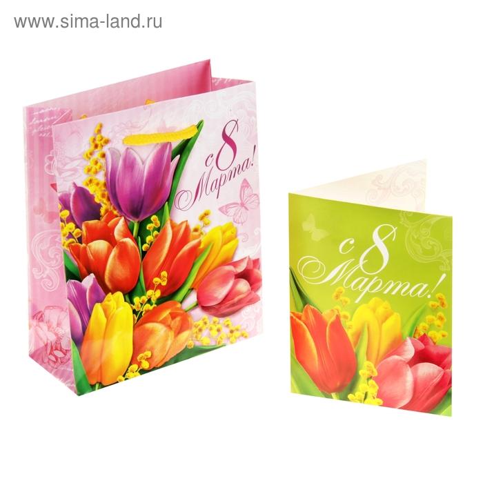 """Пакет подарочный с открыткой """"Тюльпаны"""""""